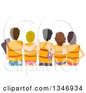 Clipart Of A Rear View Of Teen Boys And Girls Wearing Life Jackets At The Beach Royalty Free Vector Illustration