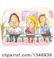 Clipart Of A Cartoon Caucasian Woman Sitting Between Angry And Sleeping Men On A Waiting Room Bench Royalty Free Vector Illustration