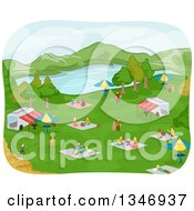 Clipart Of A Lake Park With Families Having Picnics Around Food Stands Royalty Free Vector Illustration by BNP Design Studio