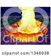 Clipart Of A Volcano Crater With Steam And Magma Royalty Free Vector Illustration