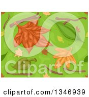 Clipart Of A Seamless Background Of Autumn Leaves Twigs And Grass Royalty Free Vector Illustration