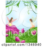 Clipart Of A Border Of Fairies On Flowers And Leaves With Vines Against Blue Royalty Free Vector Illustration