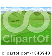 Clipart Of A Landscape Of A Green Valley With Hills Royalty Free Vector Illustration