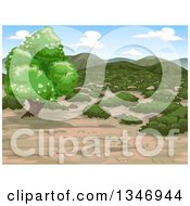 Clipart Of A Mediterranean Shrubland Landscape Royalty Free Vector Illustration