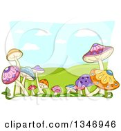 Clipart Of A Border Of Colorful Mushrooms Over A Landscape Of Hills Royalty Free Vector Illustration by BNP Design Studio