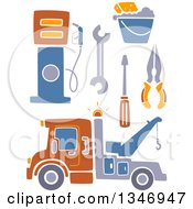 Clipart Of A Tow Truck Tools And Gas Pump Royalty Free Vector Illustration by BNP Design Studio