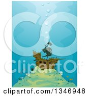 Clipart Of A Sunken Pirate Ship And Fish Royalty Free Vector Illustration