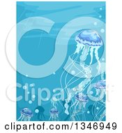 Clipart Of A Family Of Jellyfish Underwater Royalty Free Vector Illustration by BNP Design Studio