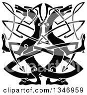 Clipart Of A Black Celtic Wild Dog Knot 2 Royalty Free Vector Illustration by Vector Tradition SM