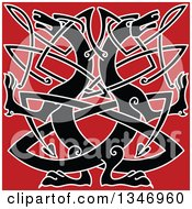 Clipart Of A Black Celtic Wild Dog Knot On Red Royalty Free Vector Illustration by Vector Tradition SM