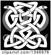 White Celtic Knot Snakes On Black 8