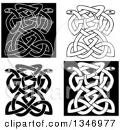 Black And White Celtic Knot Snakes 3