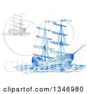 Clipart Of Sketched Blue And Gray Sailing Tall Ships Royalty Free Vector Illustration