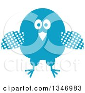 Clipart Of A Retro Styled Blue Bird With Polka Dot Wings Royalty Free Vector Illustration