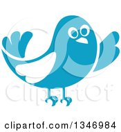 Clipart Of A Retro Styled Blue Bird Waving Or Listening 2 Royalty Free Vector Illustration