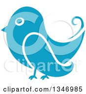 Clipart Of A Retro Styled Blue Bird Royalty Free Vector Illustration