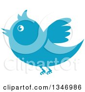 Clipart Of A Retro Styled Blue Bird Flying Royalty Free Vector Illustration
