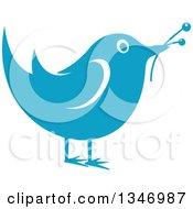 Clipart Of A Retro Styled Blue Bird With Flower Buds Royalty Free Vector Illustration
