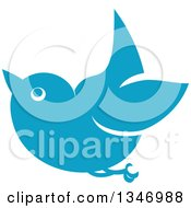 Clipart Of A Retro Styled Blue Bird Flying 2 Royalty Free Vector Illustration