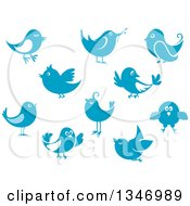 Clipart Of Retro Styled Blue Birds Royalty Free Vector Illustration