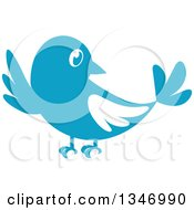 Clipart Of A Retro Styled Blue Bird Waving Or Listening Royalty Free Vector Illustration