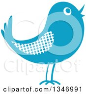 Clipart Of A Retro Styled Blue Bird With A Polka Dot Wing Royalty Free Vector Illustration