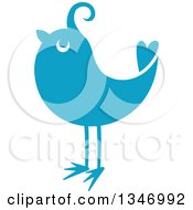 Clipart Of A Retro Styled Blue Bird 2 Royalty Free Vector Illustration