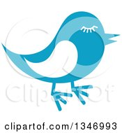 Clipart Of A Retro Styled Blue Bird With Lashes Royalty Free Vector Illustration