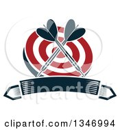 Clipart Of Crossed Navy Blue Darts Over A Red And White Target Over A Blank Banner Royalty Free Vector Illustration