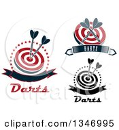 Clipart Of Throwing Dart And Target Designs Royalty Free Vector Illustration
