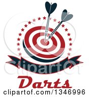 Clipart Of Navy Blue Darts In The Bullseye Of A Red And White Target Within A Circle Of Stars With A Blank Banner And Text Royalty Free Vector Illustration