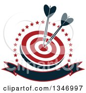 Clipart Of Navy Blue Darts In The Bullseye Of A Red And White Target Within A Circle Of Stars With A Blank Banner Royalty Free Vector Illustration
