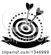 Clipart Of Black And White Darts In The Bullseye Of A Target Within A Circle Of Stars With A Blank Banner Royalty Free Vector Illustration