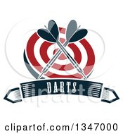 Clipart Of Crossed Navy Blue Darts Over A Red And White Target Over A Text Banner Royalty Free Vector Illustration