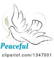 Clipart Of A Sketched Gray Flying Peace Dove With A Branch And Text Royalty Free Vector Illustration