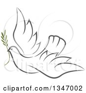 Clipart Of A Sketched Gray Flying Peace Dove With A Branch Royalty Free Vector Illustration by Vector Tradition SM
