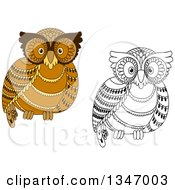 Clipart Of Cute Brown And Black And White Owls Royalty Free Vector Illustration