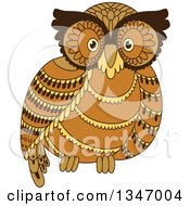 Clipart Of A Cute Brown Owl Royalty Free Vector Illustration by Seamartini Graphics