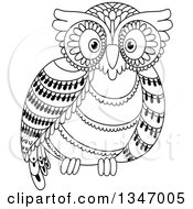 Clipart Of A Cute Black And White Owl Royalty Free Vector Illustration