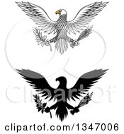 Clipart Of Flying White And Black Silhoeutted Eagles Holding Peace Olive Branches And War Arrows Royalty Free Vector Illustration