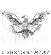 Clipart Of A Flying White Eagle Holding A Peace Olive Branch And War Arrows Royalty Free Vector Illustration by Vector Tradition SM