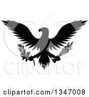 Clipart Of A Flying Black Silhouetted Eagle Holding A Peace Olive Branch And War Arrows Royalty Free Vector Illustration by Vector Tradition SM