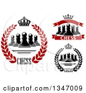 Clipart Of Chess Pawn Crown Wreath And Banner Designs With Text Royalty Free Vector Illustration
