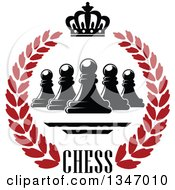 Clipart Of A Black And Red Chess Pawn Crown And Text Wreath Royalty Free Vector Illustration