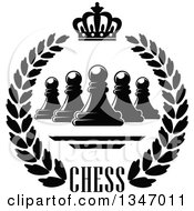 Clipart Of A Black And White Chess Pawn Crown And Text Wreath Royalty Free Vector Illustration
