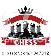 Clipart Of Black And White Chess Pawns Crown And Red Banners Royalty Free Vector Illustration
