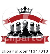 Clipart Of Black And White Chess Pawns Crown And Blank Red Banners Royalty Free Vector Illustration