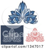 Clipart Of Beautiful Ornate Red White On Blue And Blue Henna Lotus Flowers Royalty Free Vector Illustration