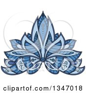 Clipart Of A Beautiful Ornate Blue Henna Lotus Flower Royalty Free Vector Illustration