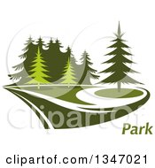 Clipart Of A Park With Evergreen Trees And Text Royalty Free Vector Illustration
